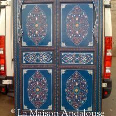 Porte bois peint bleu marine ref A11