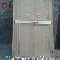 Porte Marocaine sculptée et cuivre ref pm2