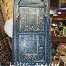 Porte Marocaine bois peint bleu bleu ref1