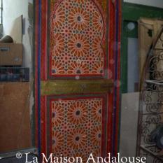 Porte bois peint 1 vantail poussante gauche