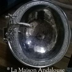 Vasque sculptée ronde avec plat