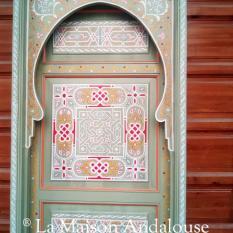 Porte bois peint vert