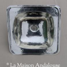 Vasque maillechort argentée carrée