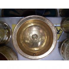 Vasque cuivre ronde sculptée