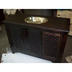 Meuble de salle de bain 3 portes moucharabieh
